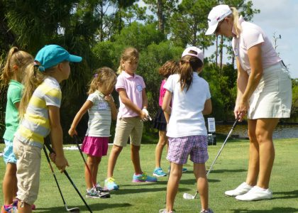 kids playing golf